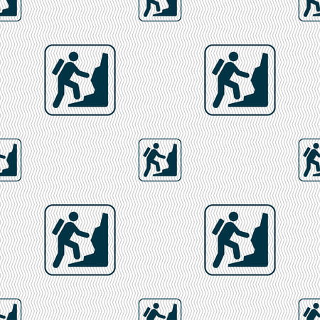 clambering: rock climbing sign. Seamless pattern with geometric texture. illustration
