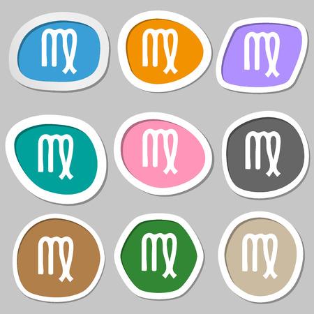 ecliptic: Virgo symbols. Multicolored paper stickers. illustration Stock Photo
