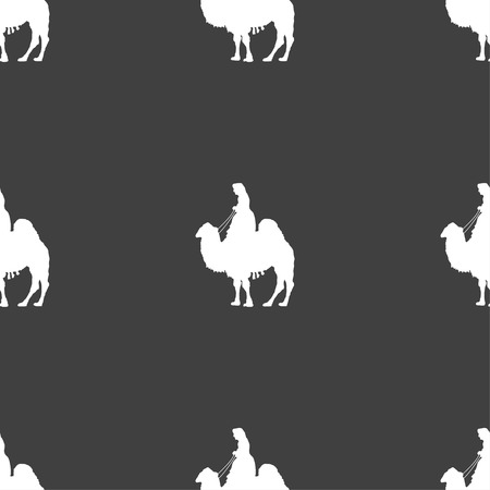 arab beast: Camel sign. Seamless pattern on a gray background. illustration