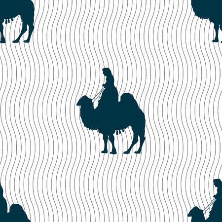 arab beast: Camel sign. Seamless pattern with geometric texture. illustration