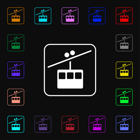 car lots: cable car line icon sign. Lots of colorful symbols for your design. illustration