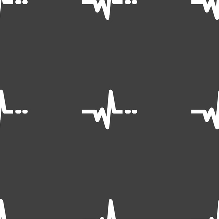 pulsating: pulse sign. Seamless pattern on a gray background. illustration Stock Photo