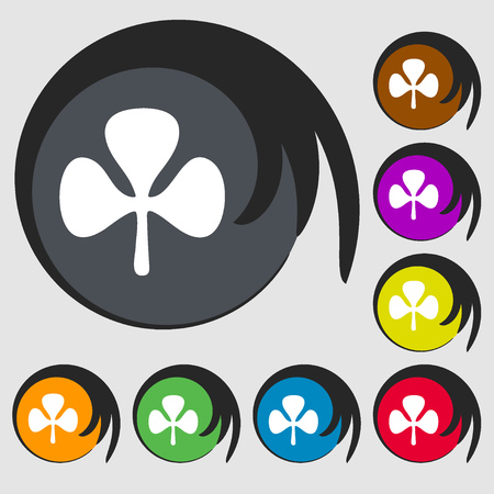 clover face: Clover sign icon. Symbols on eight colored buttons. illustration
