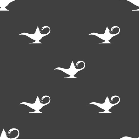 alladdin: Alladin lamp genie sign. Seamless pattern on a gray background. illustration