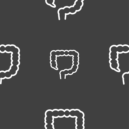 alimentary canal: large intestine sign. Seamless pattern on a gray background. illustration