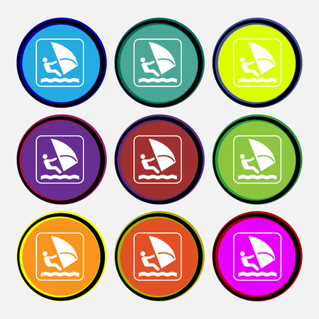 windsurf: Windsurfing icon sign. Nine multi colored round buttons. illustration
