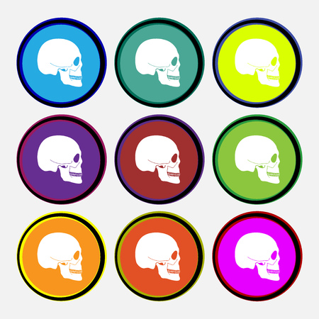 counterfeiting: Skull icon sign. Nine multi colored round buttons. illustration Stock Photo