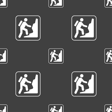 clambering: rock climbing sign. Seamless pattern on a gray background. illustration Stock Photo