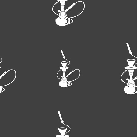 middle joint: Hookah sign. Seamless pattern on a gray background. illustration Stock Photo