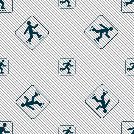roller skating: roller skating sign. Seamless pattern with geometric texture. illustration