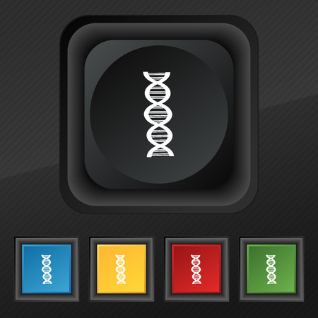 dna icon: DNA icon symbol. Set of five colorful, stylish buttons on black texture for your design. illustration