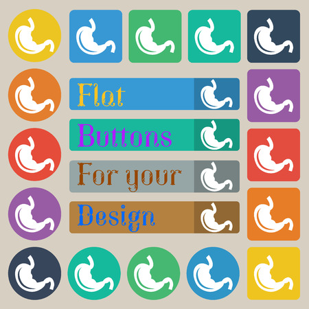 colonoscopy: Stomach icon sign. Set of twenty colored flat, round, square and rectangular buttons. illustration