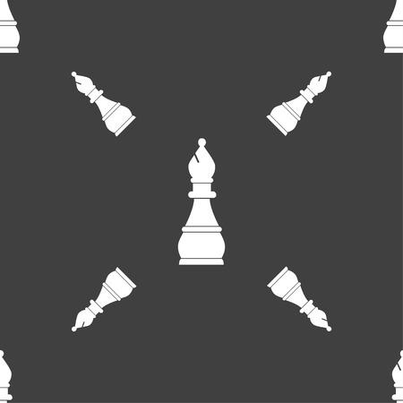 venganza: signo obispo de ajedrez. patrón transparente sobre un fondo gris. ilustración