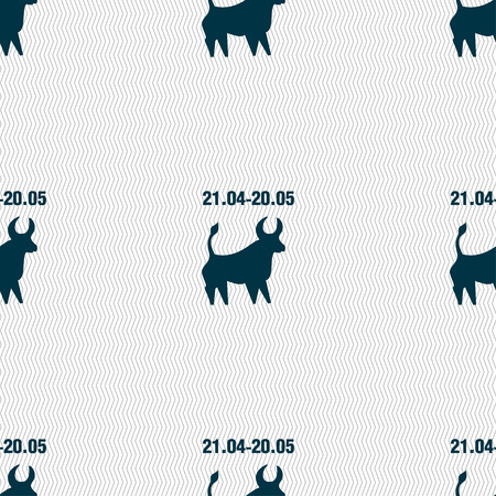 taurus sign: Taurus sign. Seamless pattern with geometric texture. illustration Stock Photo