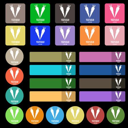 serving utensil: vegetarian cuisine icon sign. Set from twenty seven multicolored flat buttons. illustration Stock Photo