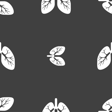 respire: Lungs sign. Seamless pattern on a gray background. illustration Stock Photo