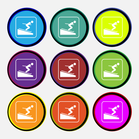 sliding colors: Skier icon sign. Nine multi colored round buttons. illustration Stock Photo