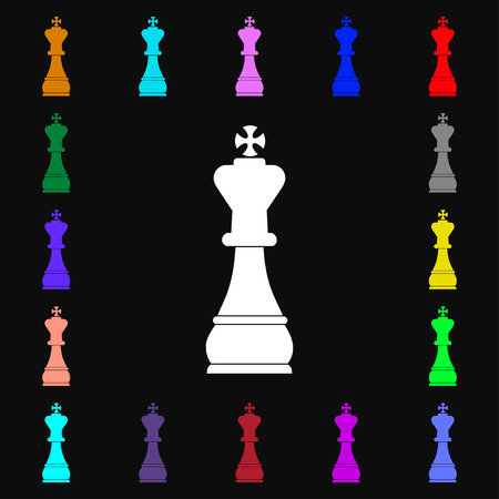 metaphorical: Chess king icon sign. Lots of colorful symbols for your design. illustration Stock Photo