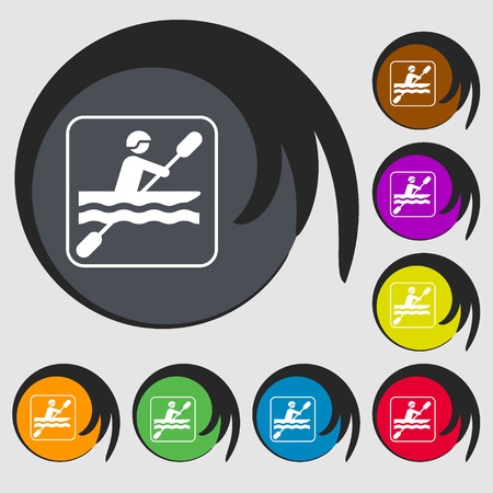 rowboat: canoeing sign icon. Symbols on eight colored buttons. illustration