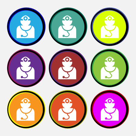 medicate: Doctor with stethoscope around his neck icon sign. Nine multi colored round buttons. illustration