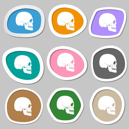 privateer: Skull symbols. Multicolored paper stickers. illustration Stock Photo