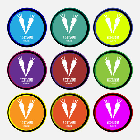 vegetarian cuisine icon sign. Nine multi colored round buttons. illustration Stock Photo