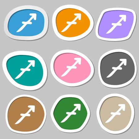 longbow: Sagittarius symbols. Multicolored paper stickers. illustration