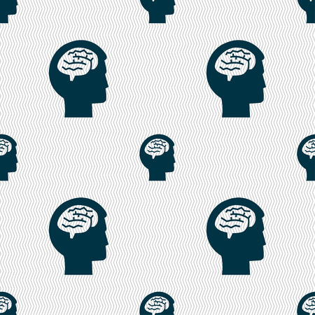 invent clever: Brain sign. Seamless pattern with geometric texture. illustration Stock Photo