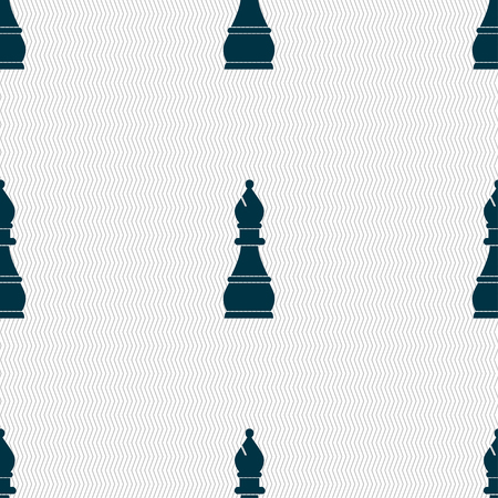 isolation: Chess bishop sign. Seamless pattern with geometric texture. illustration Stock Photo