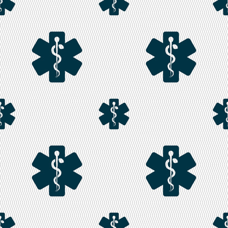 aesculapius: Medicine sign. Seamless pattern with geometric texture. illustration