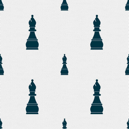 Chess bishop sign. Seamless pattern with geometric texture. illustration Stock Photo