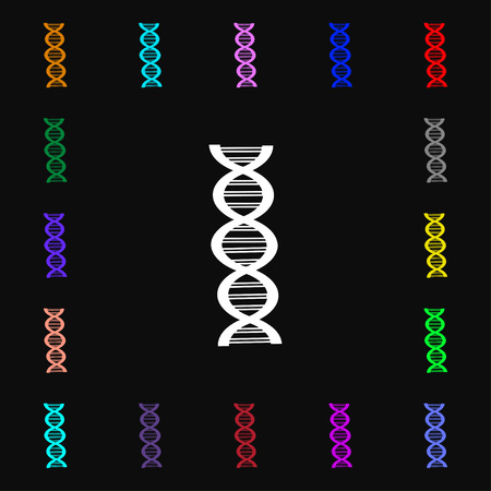 dna icon: DNA icon sign. Lots of colorful symbols for your design. illustration Stock Photo