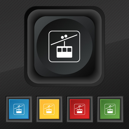 rope way: cable car line icon symbol. Set of five colorful, stylish buttons on black texture for your design. illustration Stock Photo