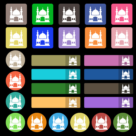 Turkish architecture, mosque icon sign. Set from twenty seven multicolored flat buttons. illustration