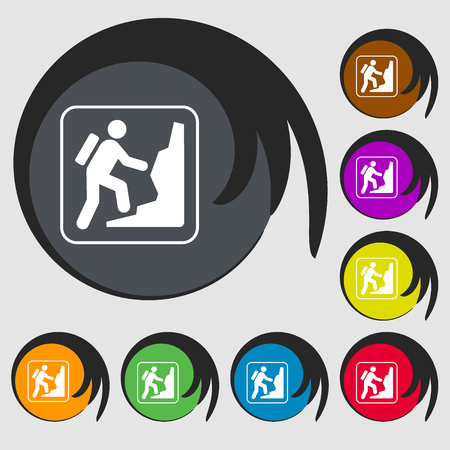 clambering: rock climbing sign icon. Symbols on eight colored buttons. illustration