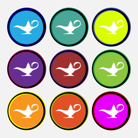 Alladin lamp genie icon sign. Nine multi colored round buttons. illustration