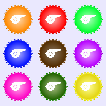 whistle icon sign. Big set of colorful, diverse, high-quality buttons. Vector illustration