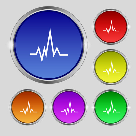 cardiograph: pulse Icon sign. Round symbol on bright colourful buttons. Vector illustration