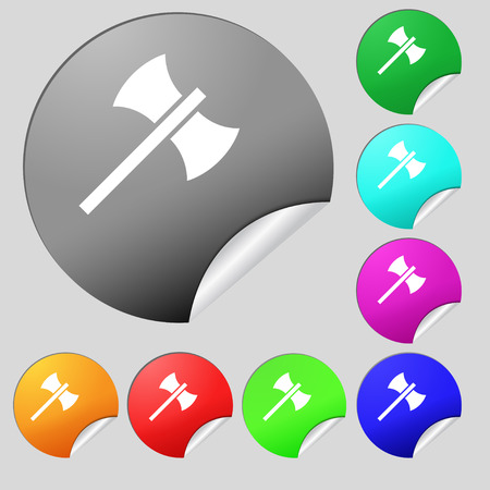 Battle axe icon sign. Set of eight multi colored round buttons, stickers. Vector illustration Illustration