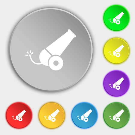 fuze: Cannon icon sign. Symbol on eight flat buttons. Vector illustration