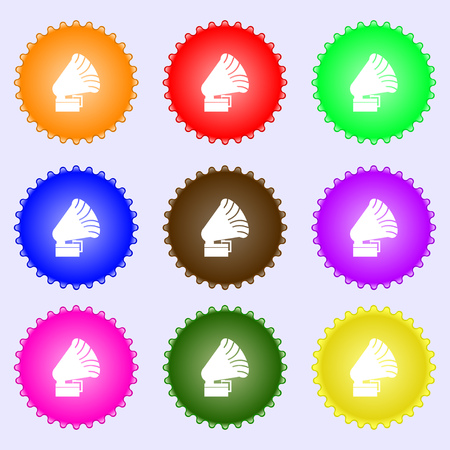 Gramophone icon. sign. Big set of colorful, diverse, high-quality buttons. Vector illustration Illustration