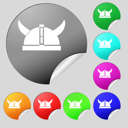 scratchy: viking helmet icon sign. Set of eight multi colored round buttons, stickers. Vector illustration Illustration