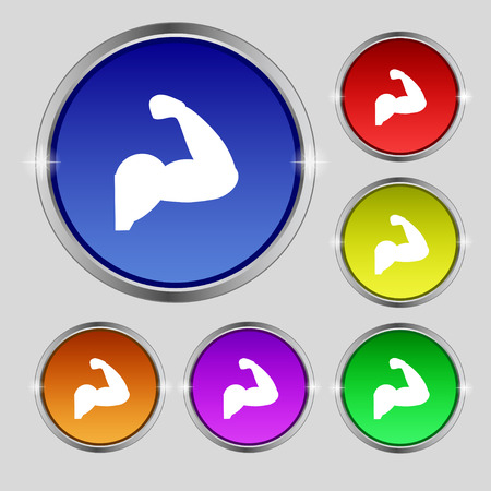 Biceps strong arm. Muscle icon sign. Round symbol on bright colourful buttons. Vector illustration