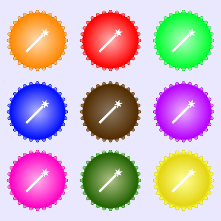 thaumaturge: Magic Wand Icon sign. Big set of colorful, diverse, high-quality buttons. Vector illustration