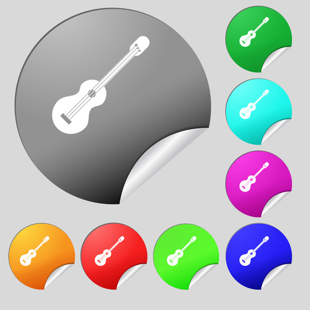 strumming: acoustic guitar icon sign. Set of eight multi colored round buttons, stickers. Vector illustration