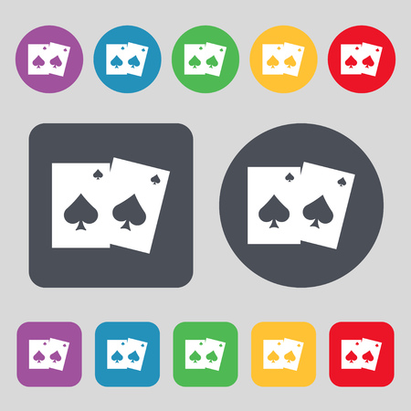 game cards: game cards icon sign. A set of 12 colored buttons. Flat design. Vector illustration