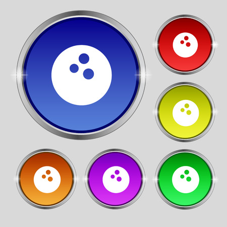Bowling icon sign. Round symbol on bright colourful buttons. Vector illustration