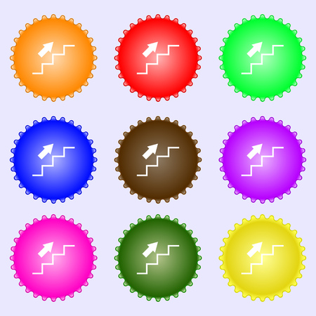 set going: Stairs going up icon sign. Big set of colorful, diverse, high-quality buttons. Vector illustration