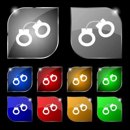 lockup: handcuffs icon sign. Set of ten colorful buttons with glare. Vector illustration sign. Set of ten colorful buttons with glare. Vector illustration