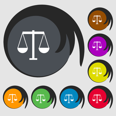 acquit: Scales of Justice icon sign. Symbols on eight colored buttons. Vector illustration Illustration